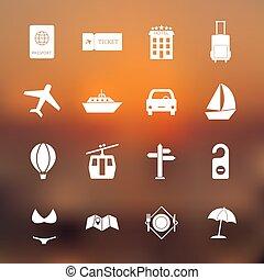 eenvoudig, reizen, set, vector, iconen