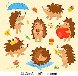eenvoudig, schattig, set, hedgehogs