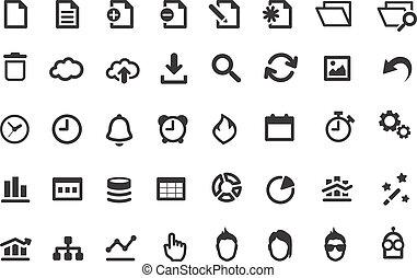 eenvoudig, set, iconen