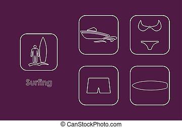 eenvoudig, set, surfing, iconen