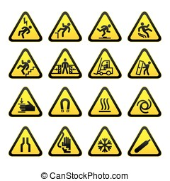 eenvoudig, set, waarschuwend, driehoekig, meldingsbord