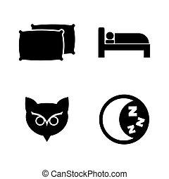 eenvoudig, sleeping., vector, verwant, iconen