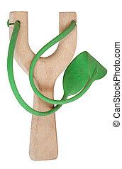 eenvoudig, slingshot, rubberband, groene, houten