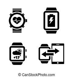eenvoudig, smartwatch., vector, verwant, iconen