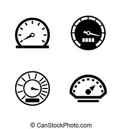 eenvoudig, speedometer., vector, verwant, iconen