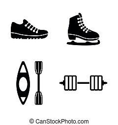 eenvoudig, sport., vector, verwant, iconen