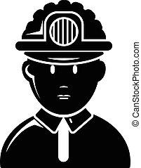 eenvoudig, stijl, mijnwerker, pictogram