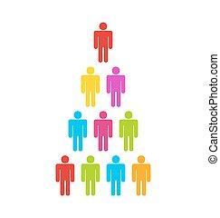 eenvoudig, team, kleurrijke, iconen