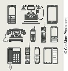 eenvoudig, telefoon, set, pictogram