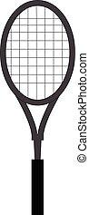 eenvoudig, tennis, grijze , illustratie, vector, achtergrond, racket, witte