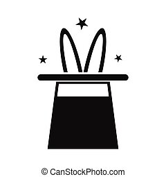 eenvoudig, tovenaar, hoedje, konijn, pictogram
