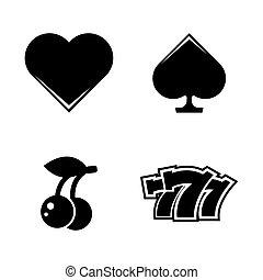 eenvoudig, vector, casino., verwant, iconen