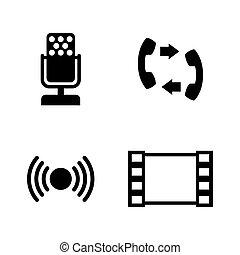 eenvoudig, vector, connection., verwant, iconen