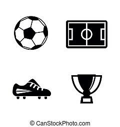 eenvoudig, vector, football., verwant, iconen
