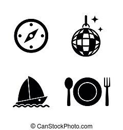 eenvoudig, vector, recreation., verwant, iconen