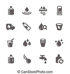 eenvoudig, water, iconen