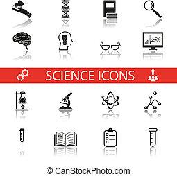 eenvoudig, wetenschap, en, onderzoek, iconen, symbolen, set, vrijstaand, met, reflectie, vector