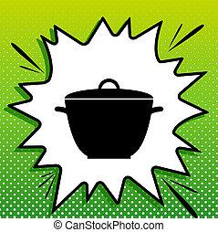 eenvoudig, witte , black , popart, groene achtergrond, pictogram, teken., pan, spots., illustration., gespetter
