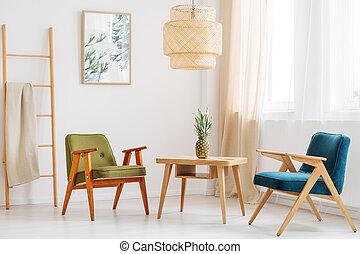 eenvoudig, woonkamer, ananas