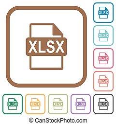 eenvoudig, xlsx, formaat, bestand, iconen