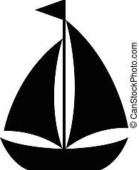 eenvoudig, zeilboot, spotprent, pictogram