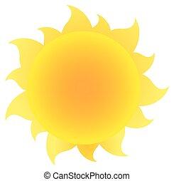 eenvoudig, zon, helling, gele