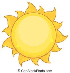 eenvoudig, zon, kleurrijke, gele