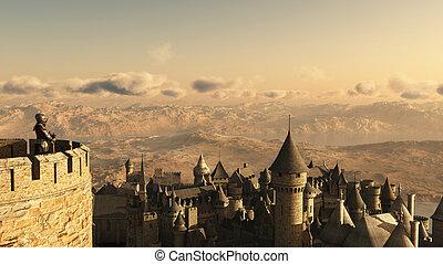 eenzaam, ridder, het bewaken, het kasteel