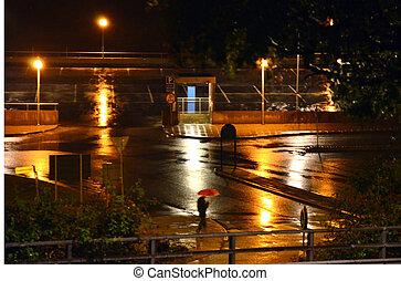 eenzaam, wandeling, met, rode paraplu