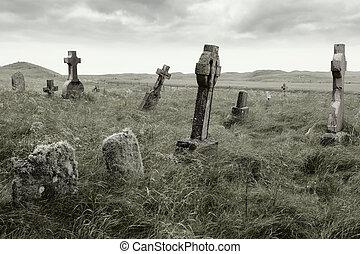 Eerie gravesite - Ancient Celtic gravesite with unmarked ...