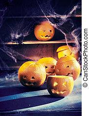 Eerie Halloween background with jack-o-lanterns