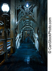 Eerie Walkway - Eerie long Walkway on desrted bridge ...
