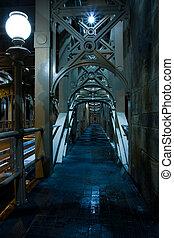 Eerie Walkway - Eerie long Walkway on desrted bridge...
