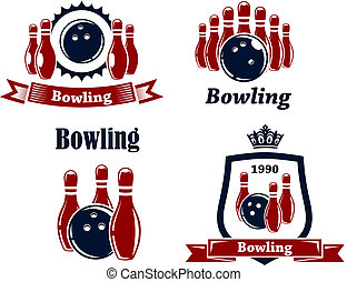 eerlijk, bowling, emblems, en, symbolen