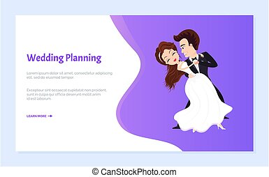 eerst, trouwfeest, bruidegom, bruid, planning, dans