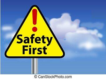 eerst, veiligheid, meldingsbord