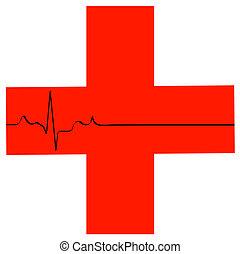 eerste hulp, symbool, met, flatline, hart ritme