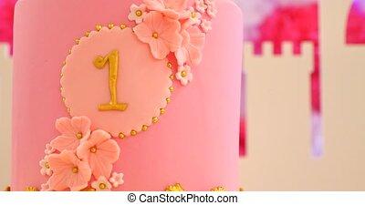 eersteklas, verjaardagstaart, eerst, viering