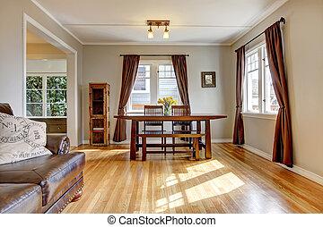 eetkamer, met, bruine , gordijn, en, loofhout, floor.