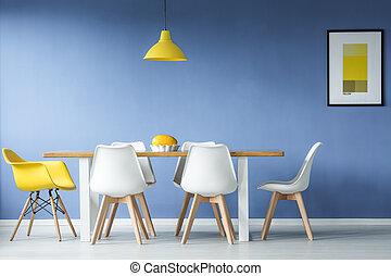 eetkamer, minimaal, stijl, vergadering