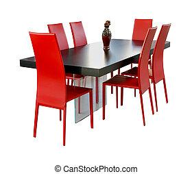 eetkamer, rood