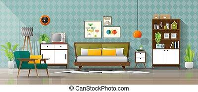 eeuw, ouderwetse , moderne, midden, 1, achtergrond, slaapkamer, interieur