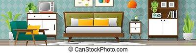 eeuw, ouderwetse , moderne, midden, 2, achtergrond, slaapkamer, interieur