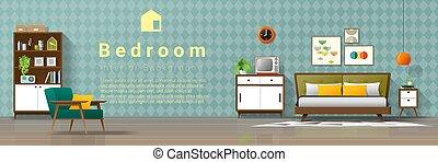eeuw, ouderwetse , moderne, midden, 3, achtergrond, slaapkamer, interieur
