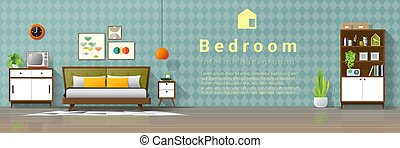 eeuw, ouderwetse , moderne, midden, 4, achtergrond, slaapkamer, interieur