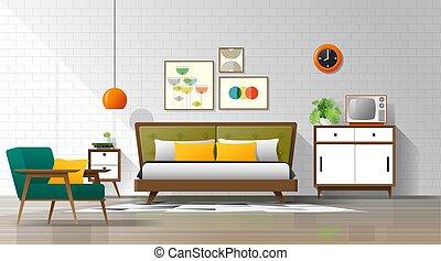 eeuw, ouderwetse , moderne, midden, 5, achtergrond, slaapkamer, interieur