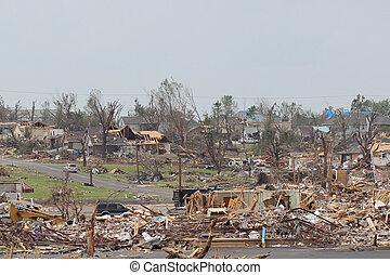 ef5, endommagé, tornade, paysage