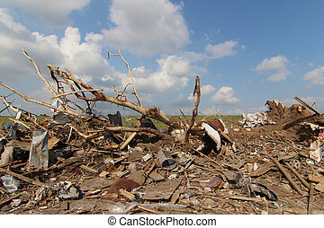 EF5 is the strongest rating of all for Tornados and is based on the Tornado Damage. This landscape is typical of what an EF5 Tornado can do to a thriving community.