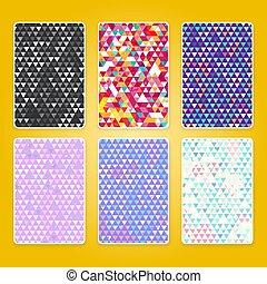 efect, パターン, 明るい, グランジ, 三角形, セット