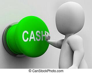 efectivo, botón, exposiciones, dinero, ganancia, y, gasto